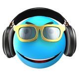 3d blue emoticon smile. 3d illustration of blue emoticon smile with black headphones over white background Royalty Free Stock Images