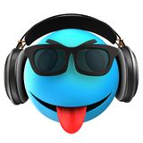 3d blue emoticon smile. 3d illustration of blue emoticon smile with black headphones over white background Stock Photos
