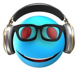 3d blue emoticon smile. 3d illustration of blue emoticon smile with headphones over white background Stock Photo