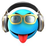 3d blue emoticon smile. 3d illustration of blue emoticon smile with headphones over white background Royalty Free Stock Photo