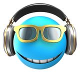 3d blue emoticon smile. 3d illustration of blue emoticon smile with headphones over white background Stock Image