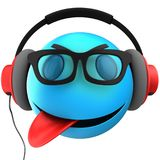 3d blue emoticon smile. 3d illustration of blue emoticon smile with red headphones over white background Royalty Free Stock Photo