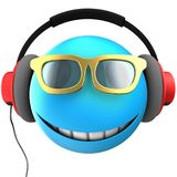 3d blue emoticon smile. 3d illustration of blue emoticon smile with red headphones over white background Stock Photo