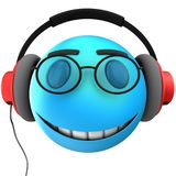 3d blue emoticon smile. 3d illustration of blue emoticon smile with red headphones over white background Stock Image
