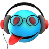 3d blue emoticon smile. 3d illustration of blue emoticon smile with red headphones over white background Royalty Free Stock Photos
