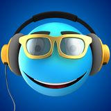 3d blue emoticon smile. 3d illustration of blue emoticon smile with yellow headphones over blue background Stock Photography