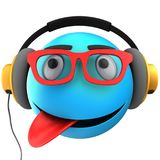 3d blue emoticon smile. 3d illustration of blue emoticon smile with yellow headphones over white background Royalty Free Stock Images
