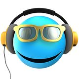 3d blue emoticon smile. 3d illustration of blue emoticon smile with yellow headphones over white background Stock Photography