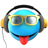 3d blue emoticon smile. 3d illustration of blue emoticon smile with yellow headphones over white background Royalty Free Stock Photography