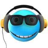 3d blue emoticon smile. 3d illustration of blue emoticon smile with yellow headphones over white background Stock Photo