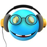 3d blue emoticon smile. 3d illustration of blue emoticon smile with yellow headphones over white background Stock Photos