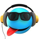 3d blue emoticon smile. 3d illustration of blue emoticon smile with yellow headphones over white background Royalty Free Stock Image