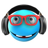 3d blue emoticon smile. 3d illustration of blue emoticon smile with black headphones over white background Royalty Free Stock Photo