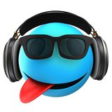 3d blue emoticon smile. 3d illustration of blue emoticon smile with black headphones over white background Stock Photo