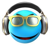 3d blue emoticon smile. 3d illustration of blue emoticon smile with headphones over white background Royalty Free Stock Photos