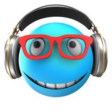 3d blue emoticon smile. 3d illustration of blue emoticon smile with headphones over white background Stock Photography