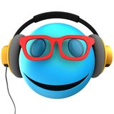 3d blue emoticon smile Stock Photo