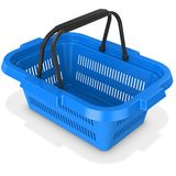 3d blue empty shopping basket. On white background Royalty Free Stock Images