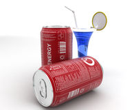 3d blue ENERGY cane and blue liquid in glass with straw and lemon concept Stock Photo