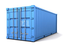 3d Blue freight container. 3d render of a blue freight container Royalty Free Stock Photo