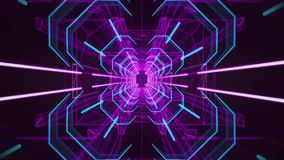 3D Blue Fuchsia Neon Tunnel Loopable Motion Background stock video footage
