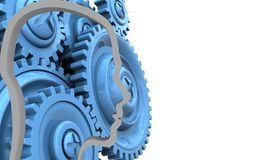 3d blue gears. 3d illustration of  over white background with blue gears Stock Photo