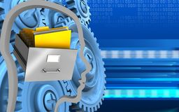 3d blue gears. 3d illustration of archive over cyber background with blue gears Royalty Free Stock Photos