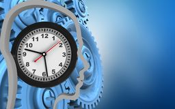 3d blue gears. 3d illustration of clock over blue background with blue gears Royalty Free Stock Photography