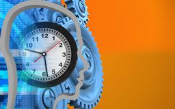 3d blue gears. 3d illustration of clock over orange background with blue gears Stock Photos