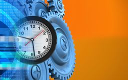 3d blue gears. 3d illustration of clock over orange background with blue gears Stock Image