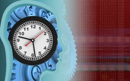 3d blue gears. 3d illustration of clock over red background with blue gears Stock Images