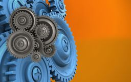 3d blue gears Stock Photo