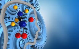 3d blue gears. 3d illustration of molecule over blue background with blue gears Royalty Free Stock Images