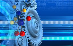 3d blue gears. 3d illustration of molecule over cyber background with blue gears Stock Images