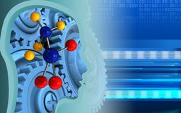 3d blue gears. 3d illustration of molecule over cyber background with blue gears Stock Photos