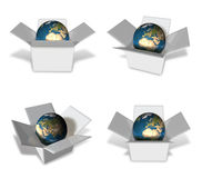 3d blue globe in box range four set . 3D Icon Design Series. Royalty Free Stock Images