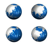 3d blue globe range four set . 3D Icon Design Series. Royalty Free Stock Photos