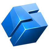 3D blue glossy S sign Stock Photography
