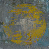 3d blue gray grunge wall with hidden yellow circle Royalty Free Stock Photography