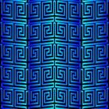 3d blue greek vector seamless pattern. Modern textured ornamenta. L background. Geometric ornament. Greek key, meanders. Surface texture. Decorative ornate Vector Illustration