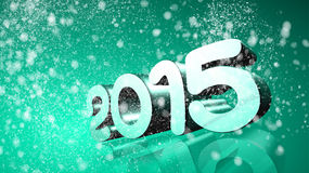 2015 in 3D on blue green background with snow Royalty Free Stock Image