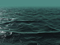 3D Blue green ocean. Blue green ocean in 3D with ripples and waves royalty free stock photo