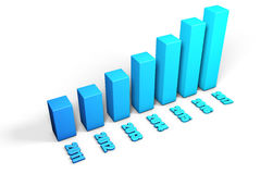 3d blue growing chart Royalty Free Stock Photo