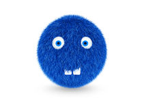 3D blue hairy monster funny, with teeth on a white background.  Stock Image