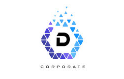 D Blue Hexagon Letter Logo with Triangles. D Blue Hexagon Letter Logo Design with Blue Mosaic Triangles Pattern royalty free illustration