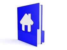 3d blue home folder. Illustration of 3d folder on white Stock Photo