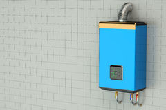 3D Blue home gas-fired boiler, water heater Stock Image