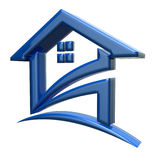 3D Blue House Logo Stock Photography