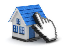 3d blue house and hand cursor. This is a 3d computer generated image.  on white Stock Images
