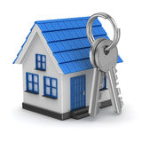 3d blue house and key Royalty Free Stock Images